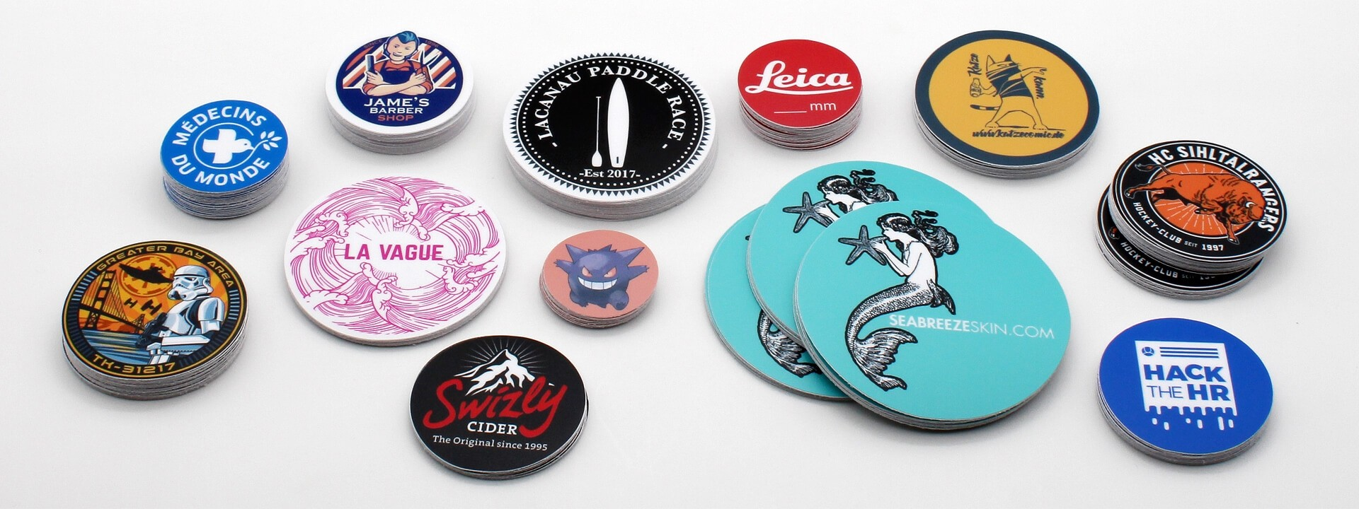 Custom stickers in round shape made in switzerland fast delivery